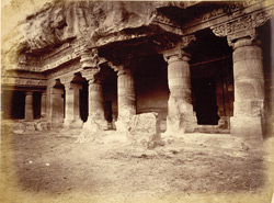 General view from the right of porch and entrance to Buddhist Vihara, Cave I, Ajanta